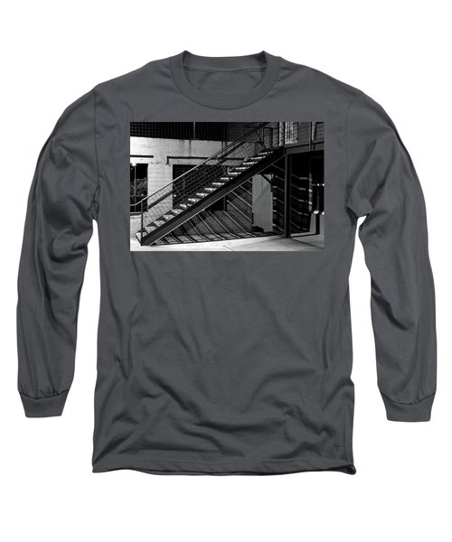 Shadow Of Stairs In Mono Long Sleeve T-Shirt by Christopher McKenzie