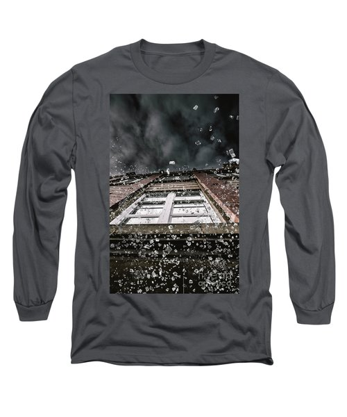 Shattering Pieces Of Glass Falling From Window Long Sleeve T-Shirt