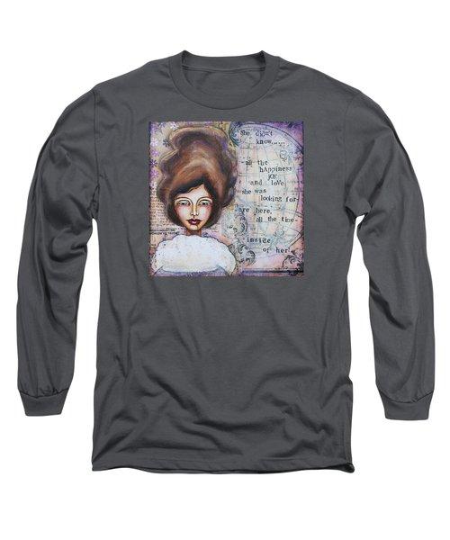 Long Sleeve T-Shirt featuring the mixed media She Didn't Know - Inspirational Spiritual Mixed Media Art by Stanka Vukelic