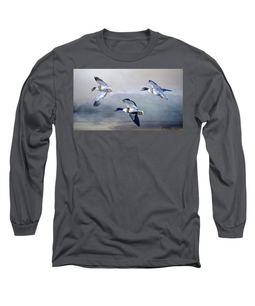 Long Sleeve T-Shirt featuring the photograph Shelduck Morning. by Brian Tarr