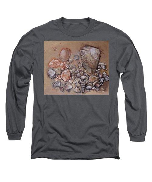 Shell Collection Beach Seashell Tan Clam Sand Long Sleeve T-Shirt