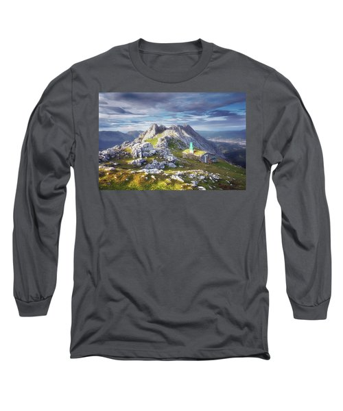 Shelter In The Top Of Urkiola Mountains Long Sleeve T-Shirt