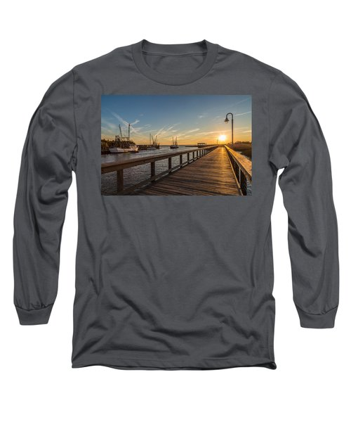 Shem Creek Pier Sunset - Mt. Pleasant Sc Long Sleeve T-Shirt