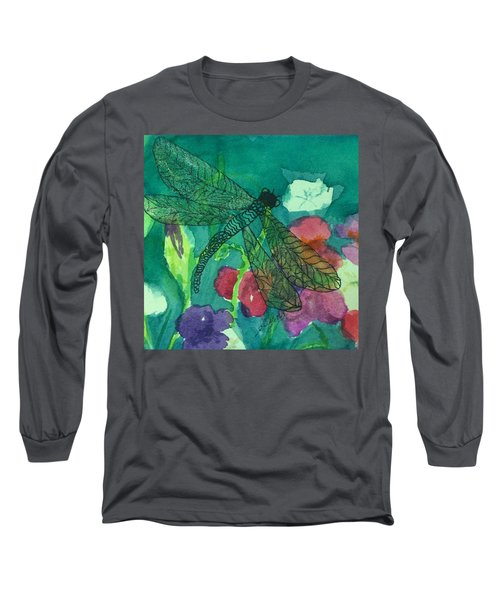 Shimmering Dragonfly W Sweetpeas Square Crop Long Sleeve T-Shirt
