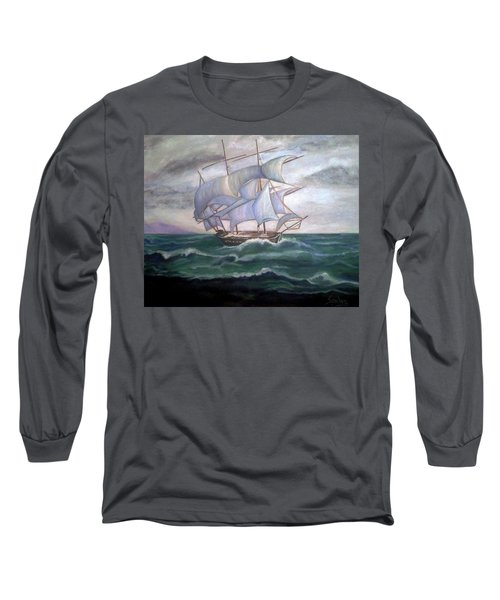 Ship Out To Sea Long Sleeve T-Shirt by Manuel Sanchez