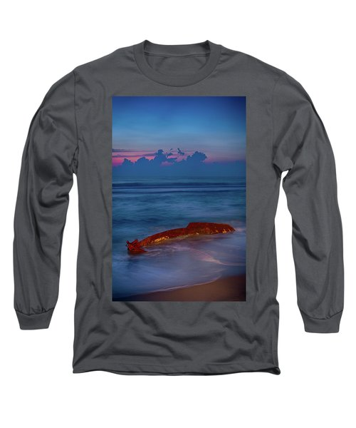 Long Sleeve T-Shirt featuring the photograph Shipwreck On The Outer Banks The End by Dan Carmichael