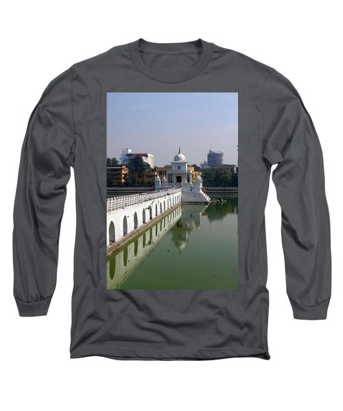 Long Sleeve T-Shirt featuring the photograph Shiva Temple In Lake Rani Pokharil, Kathmandu, Nepal by Aidan Moran