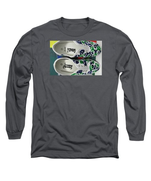 Long Sleeve T-Shirt featuring the painting Shoe Art - 009 by Mudiama Kammoh