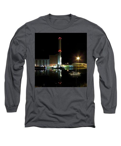 Shoreham Power Station Night Reflection Long Sleeve T-Shirt