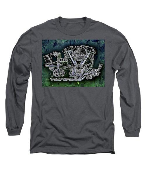 Harley - Davidson Shovelhead Engine Long Sleeve T-Shirt