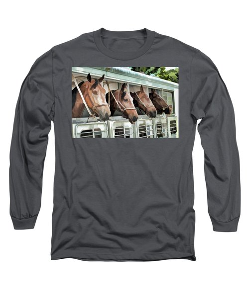 Show Horses On The Move  Long Sleeve T-Shirt by Wilma Birdwell
