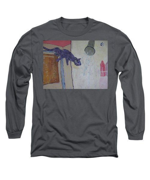 Long Sleeve T-Shirt featuring the painting Shower Cat by AJ Brown