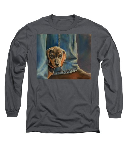Long Sleeve T-Shirt featuring the painting Shy Boy by Ceci Watson