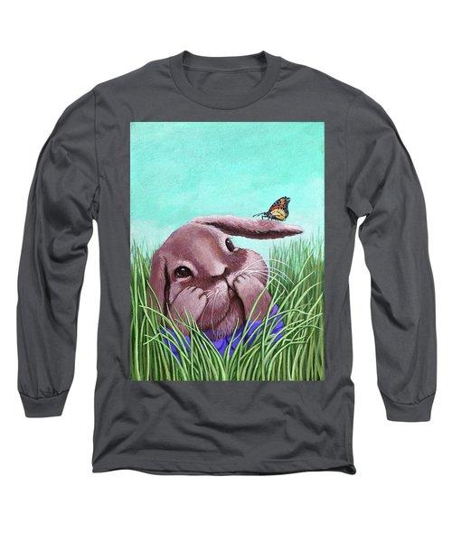 Shy Bunny - Original Painting Long Sleeve T-Shirt