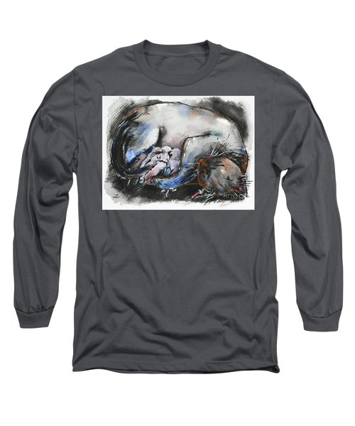 Long Sleeve T-Shirt featuring the painting Siamese Cat With Kittens by Zaira Dzhaubaeva