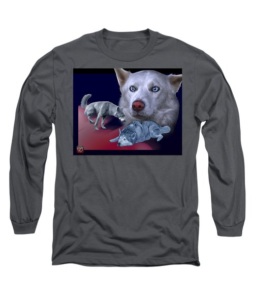 Siberian Husky - Modern Dog Art - 0002 Long Sleeve T-Shirt