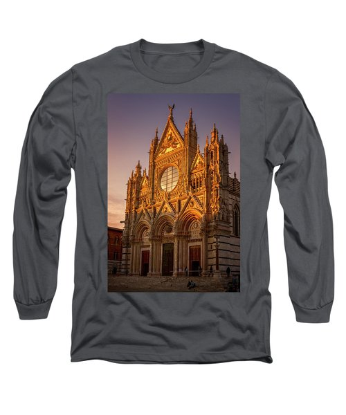 Long Sleeve T-Shirt featuring the photograph Siena Italy Cathedral Sunset by Joan Carroll