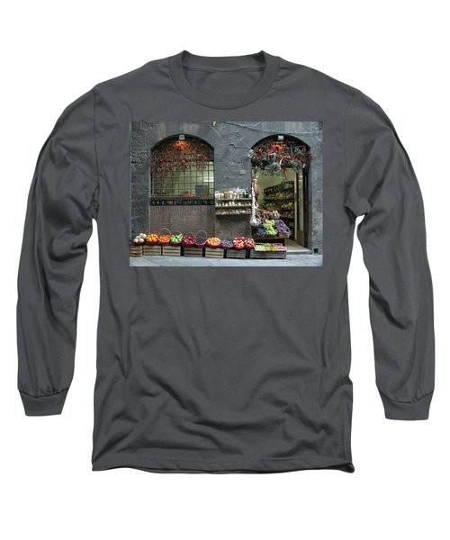 Long Sleeve T-Shirt featuring the photograph Siena Italy Fruit Shop by Mark Czerniec