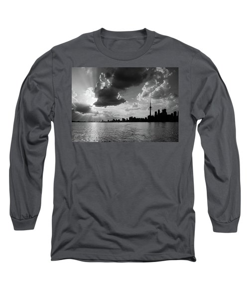 Silhouette Cn Tower Long Sleeve T-Shirt by Nick Mares