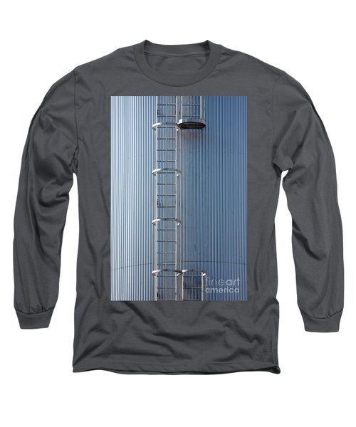Silver Blue Silo With Steel Ladder. Long Sleeve T-Shirt