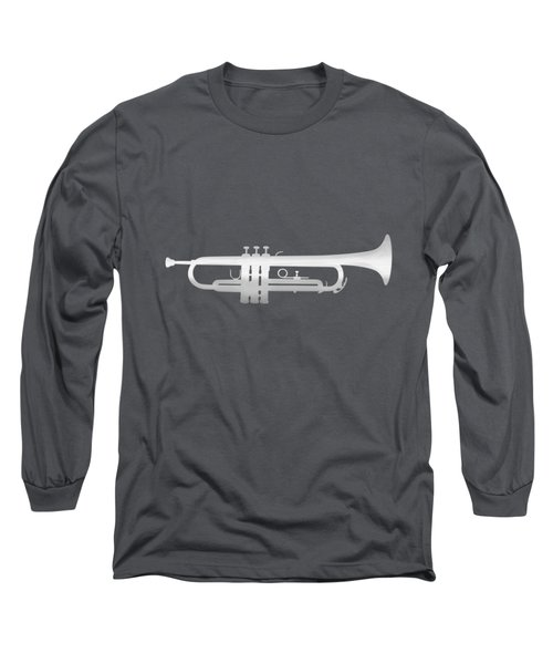 Silver Embossed Trumpet On Rosy Brown Background Long Sleeve T-Shirt
