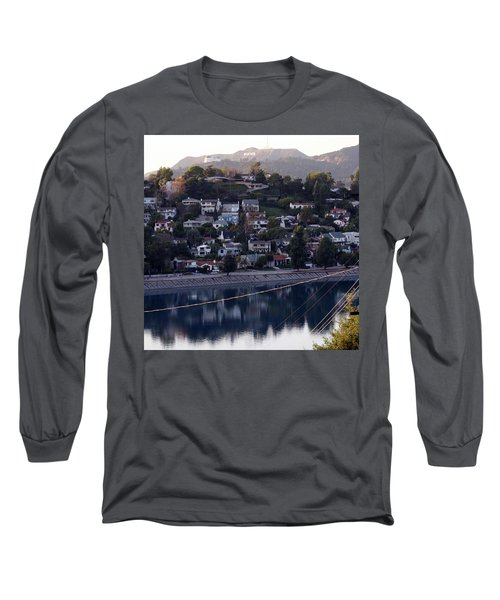 Silver Lake Reservoir And Hollywood Hills Long Sleeve T-Shirt