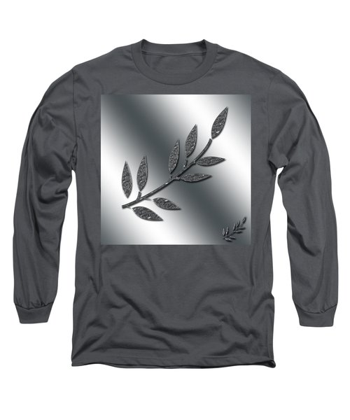 Silver Leaves Abstract Long Sleeve T-Shirt