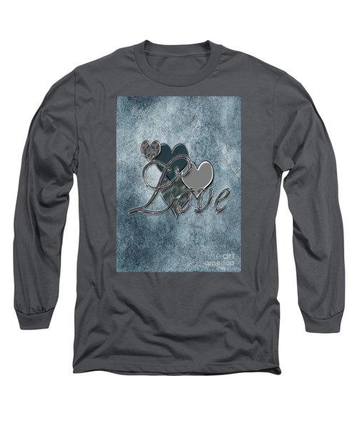 Long Sleeve T-Shirt featuring the digital art Silver Love by Linda Prewer