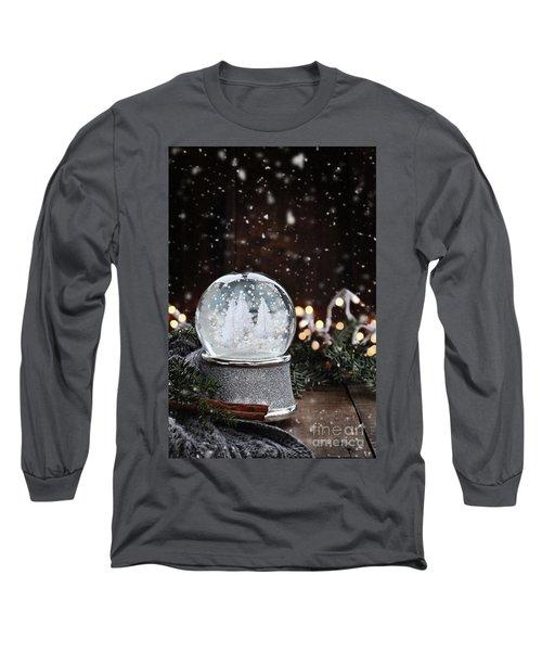 Silver Snow Globe Long Sleeve T-Shirt by Stephanie Frey
