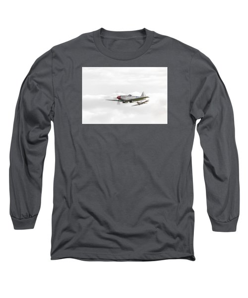 Silver Spitfire In A Cloudy Sky Long Sleeve T-Shirt by Gary Eason