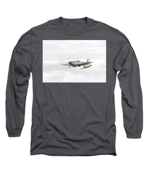 Silver Spitfire In A Cloudy Sky Long Sleeve T-Shirt