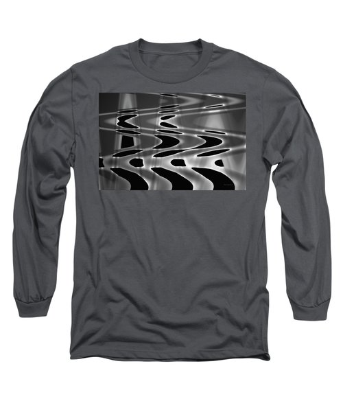 Silvery Abstraction Bw  Long Sleeve T-Shirt by David Gordon