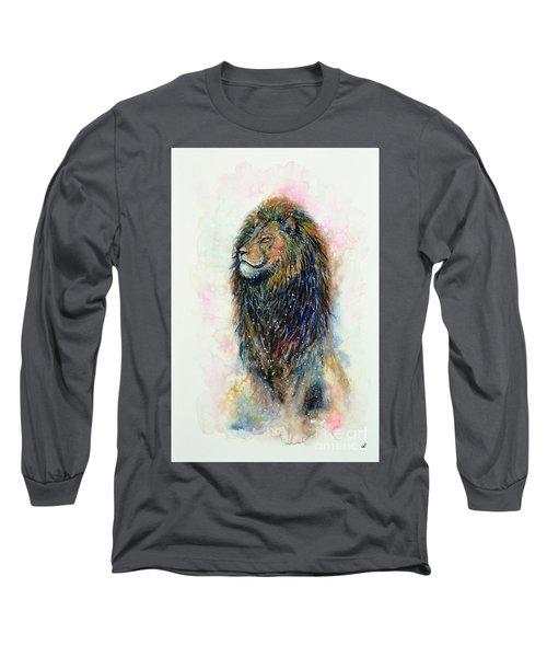 Long Sleeve T-Shirt featuring the painting Simba by Zaira Dzhaubaeva