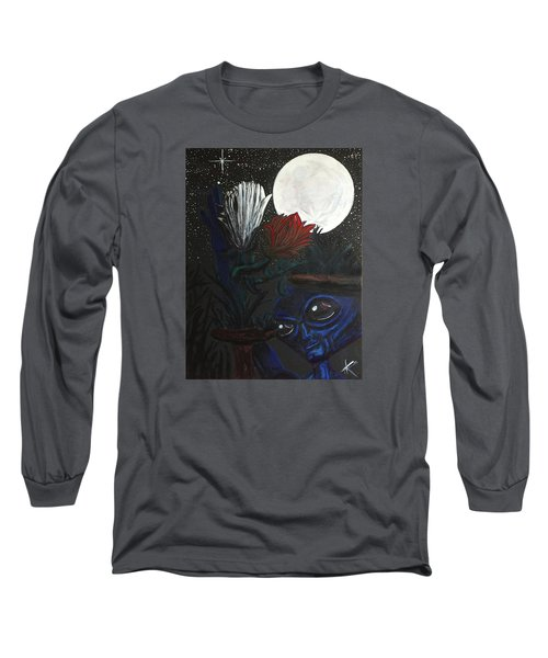Long Sleeve T-Shirt featuring the painting Similar Alien Appreciates Flowers By The Light Of The Full Moon. by Similar Alien