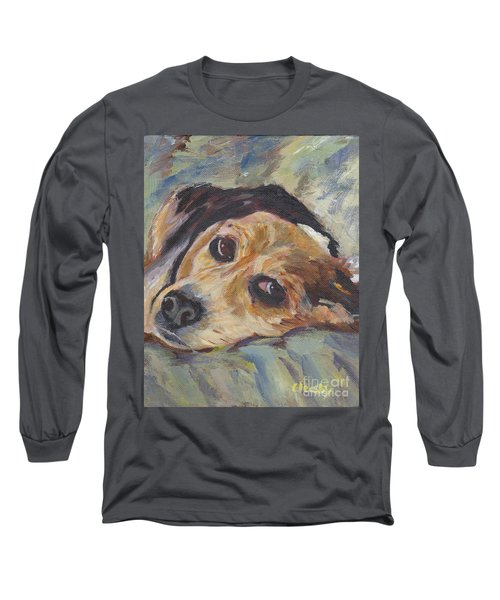 Long Sleeve T-Shirt featuring the painting simonClydemcflyMcCue by Patricia Cleasby