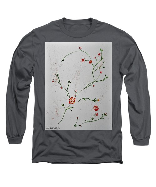 Simple Flowers #1 Long Sleeve T-Shirt by Carol Crisafi