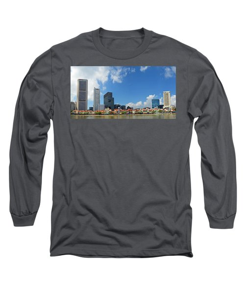 Long Sleeve T-Shirt featuring the digital art Singapore River Front by Eva Kaufman