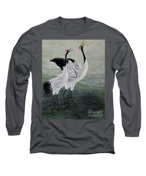 Long Sleeve T-Shirt featuring the painting Singing Cranes by Judy Kirouac