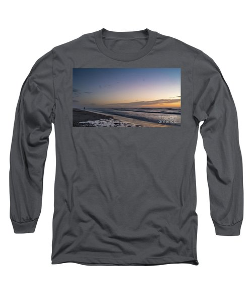 Single Man Walking On Beach With Sunset In The Background Long Sleeve T-Shirt