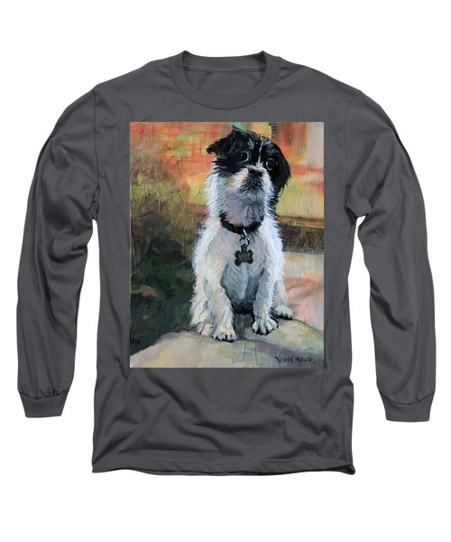 Sitting Pretty - Black And White Puppy Long Sleeve T-Shirt by Bonnie Mason