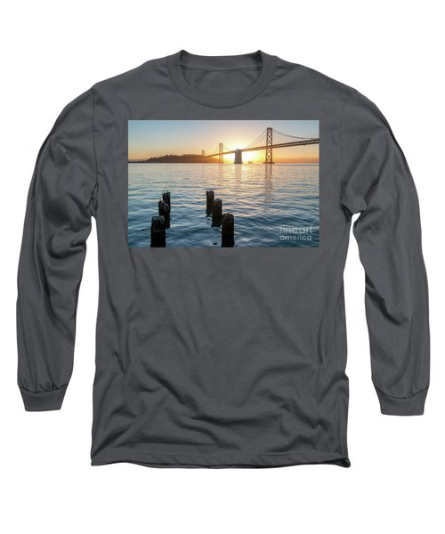 Six Pillars Sticking Out The Water With Bay Bridge In The Backgr Long Sleeve T-Shirt