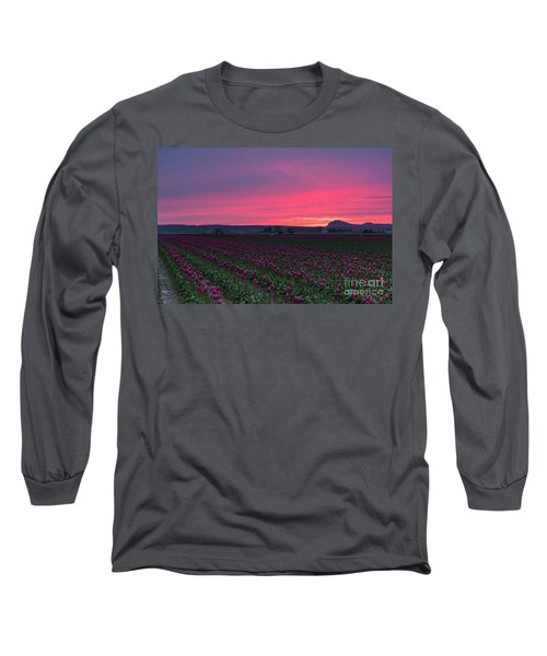 Long Sleeve T-Shirt featuring the photograph Skagit Valley Burning Skies by Mike Reid