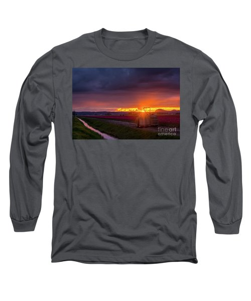 Long Sleeve T-Shirt featuring the photograph Skagit Valley Tractor Sunstar by Mike Reid