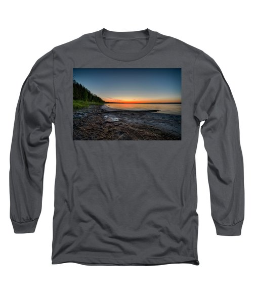 Long Sleeve T-Shirt featuring the photograph Skeleton Lake Beach At Sunset by Darcy Michaelchuk