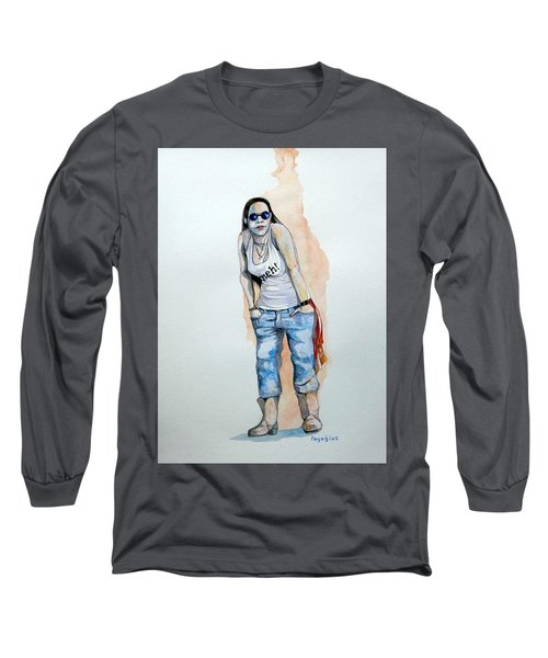 Long Sleeve T-Shirt featuring the painting Sketch For Meh by Ray Agius