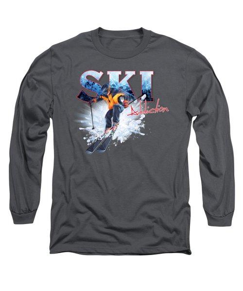 Ski Addiction Long Sleeve T-Shirt by Rob Corsetti