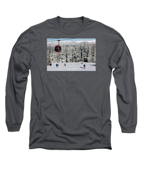 Skiers Limber Up Under A Gondola Near The Summit Of Aspen Mountain Long Sleeve T-Shirt