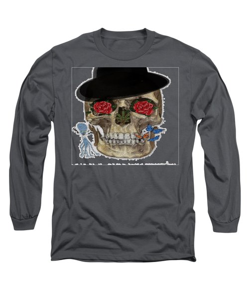 Skull In A Hat With Roses Long Sleeve T-Shirt