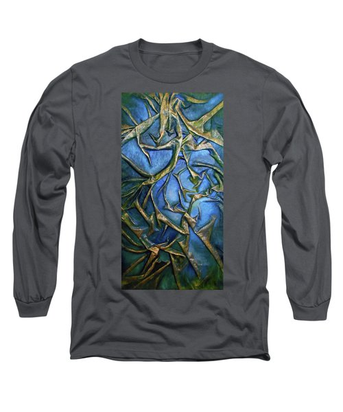 Long Sleeve T-Shirt featuring the mixed media Sky Through The Trees by Angela Stout