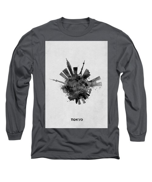 Black Skyround / Skyline Art Of Tokyo, Japan Long Sleeve T-Shirt